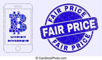 coût, timbre, grunge, bleu, mobile, banque, foire, bitcoin, mosaïque