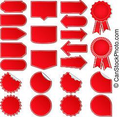 coût, vecteur, rouges, étiquettes