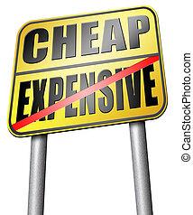 coûteux, contre, bon marché