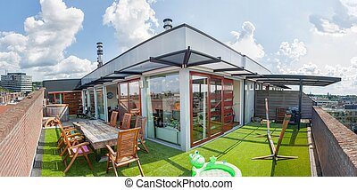 coûteux, grand, appartement terrasse, appartement