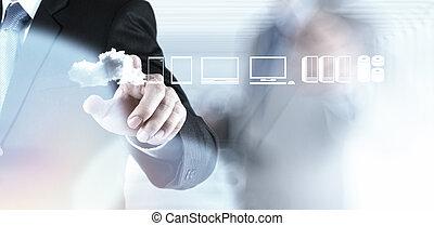 co, 仕事, 計算, 図, ビジネスマン, 新しい, 雲