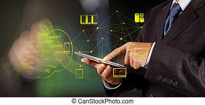 co, arbete, beräkning, diagram, affärsman, färsk, moln