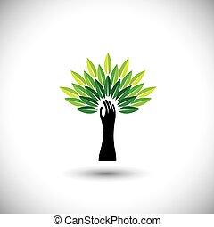 co, &, arbre, main, icône, 2014-human