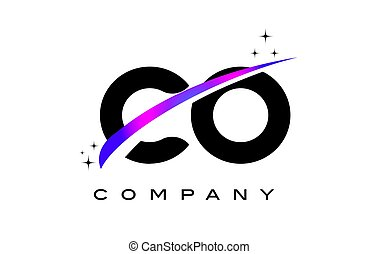 CO C O Black Letter Logo Design with Purple Magenta Swoosh and Stars.