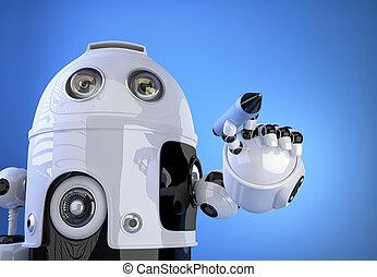 co, concept., robot, air., stylo écriture, marqueur, technologie