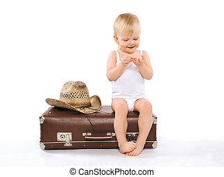 co, dinero, maleta, -, recorrido de las vacaciones, niño, visitas, condes, se sienta