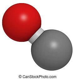 (co), koolstof, moleculair, monoxide, model.