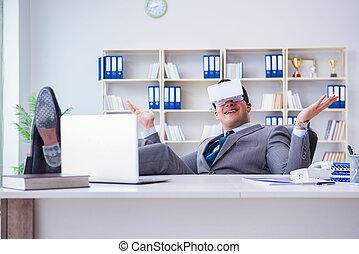 co, modern, virtuelle wirklichkeit, geschäftsmann, technologie, brille