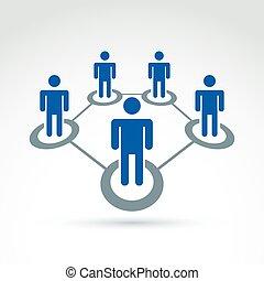 co, rede, relacionamento, ilustração, pessoas, vetorial, ...