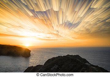co, rocheux, défaillance, résumé, pile, levers de soleil, temps, unique, sur, paysage