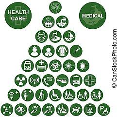 co, santé médicale, soin, rouges, icône