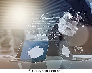 co, trabajando, informática, diagrama, hombre de negocios, nuevo, nube