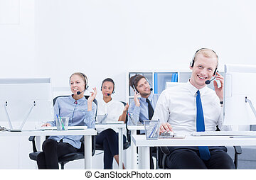 Co-workers in call center