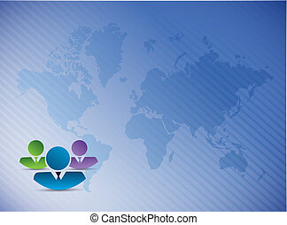 co workers over a world map illustration design background