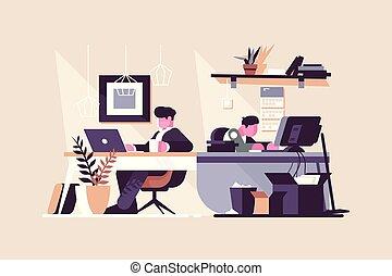 co-working, środek, biuro, twórczy