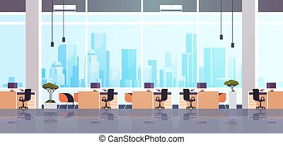 co-working, 中心, ワークスペース, キャビネット, オフィスの内部, 創造的, 横, 空, 平ら, 人々はなし, 家具, 現代