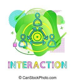co-working, 相互作用, 矢, 人間, シンボル