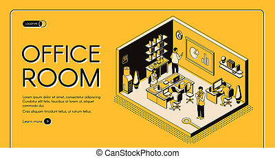 Co-working center office isometric website