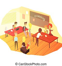 Co-working Office Space With Blackboard Colorful Childish Cartoon Design Vector Illustration