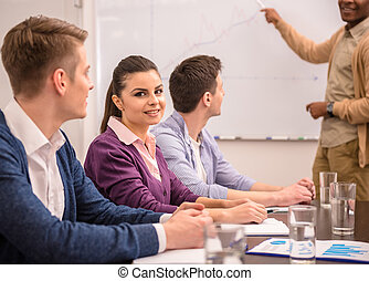 Co-working - Confident international businessman in meeting...