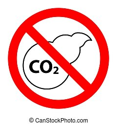 co2 , απαγορευμένος , σταματώ , απαγόρευση , σήμα , μόλυνση...