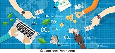 co2, ビジネス, 放出, 契約, 取引, 炭素