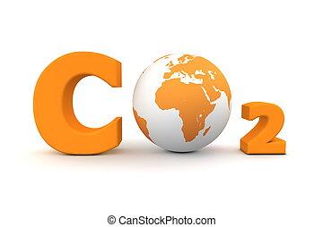 co2, 世界的である, -, 二酸化物, オレンジ, 炭素