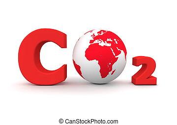 co2, 世界的である, -, 二酸化物, 炭素, 赤