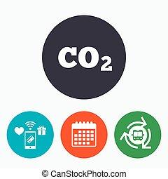 co2, 二酸化物, 印, 炭素, 方式, icon., 化学