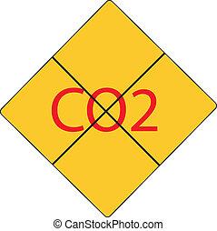 co2, achtgeben, zeichen