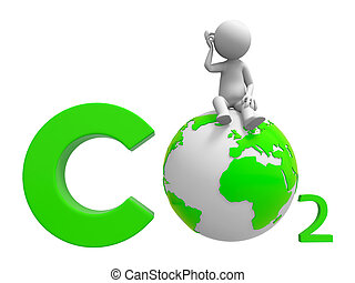 Co2 and earth - A people standing on a CO2 symbol