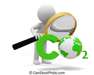 Co2 and earth - A people observe a CO2 symbol with a...