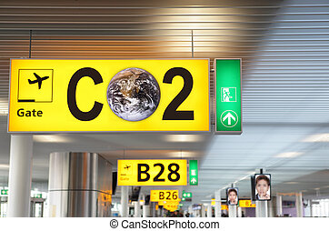 CO2 aviation concept - Airport terminal departure gate ...