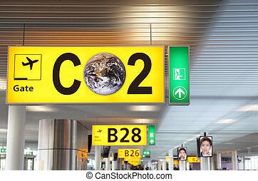 CO2 aviation concept - Airport terminal departure gate...
