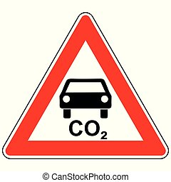 CO2 car and attention sign