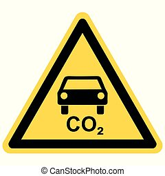 CO2 car and danger sign