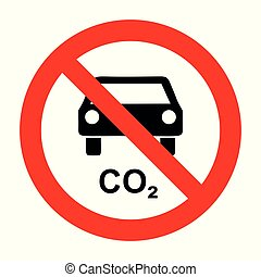 CO2 car and prohibition sign