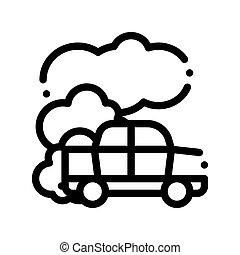 co2, car, ar, óxido, vetorial, magra, carbonic, linha, ícone