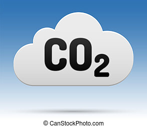 CO2 cloud - CO2 sign in cloud with shadow and background.