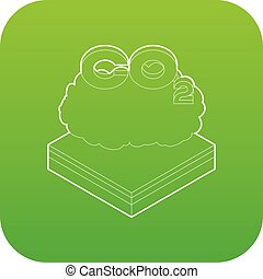 CO2 cloud icon green vector