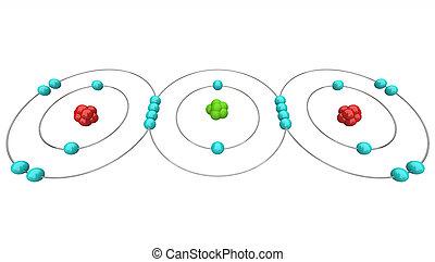 co2, -, diagrama, atómico, dióxido, carbón