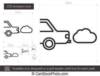 CO2 emission line icon.
