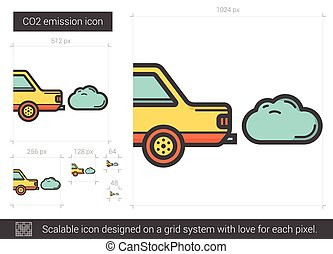 CO2 emission line icon.