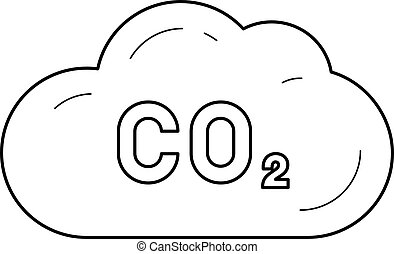 CO2 emission vector line icon.
