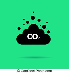 Co2 emissions icon cloud vector flat