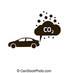 co2 emissions icon cloud vector flat, carbon dioxide emits symbol