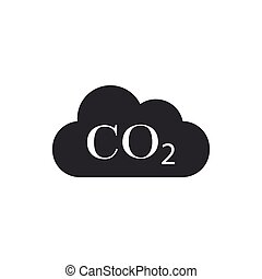 CO2 emissions in cloud icon isolated. Carbon dioxide formula symbol, smog pollution concept, environment concept, combustion products. Flat design. Vector Illustration