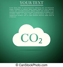 CO2 emissions in cloud icon isolated on grey background. Carbon dioxide formula symbol, smog pollution concept, environment concept, combustion products sign. Flat design. Vector Illustration