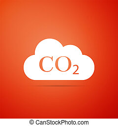 CO2 emissions in cloud icon isolated on orange background. Carbon dioxide formula symbol, smog pollution concept, environment concept, combustion products. Flat design. Vector Illustration