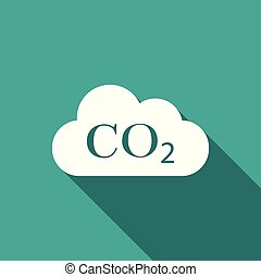 CO2 emissions in cloud icon isolated with long shadow. Carbon dioxide formula symbol, smog pollution concept, environment concept, combustion products sign. Flat design. Vector Illustration